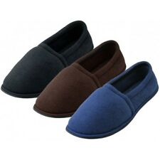Men's Cotton Terry House Slippers Shoes - Black Brown Blue Sizes S-XL New