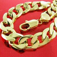 Bracelet Bangle Real 18k Yellow G/F Gold Solid Mens Bling Cuban Curb Link Design