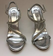 Women's Shoes Qupid Sliver with Rhinestones Straps 4 Inch Stiletto Heels Size 7