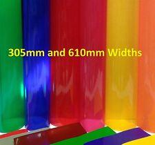 A4,1m, 5m LONG TRANSPARENT COLOURED WINDOW GLASS FILM TINT STICKY BACK PLASTIC