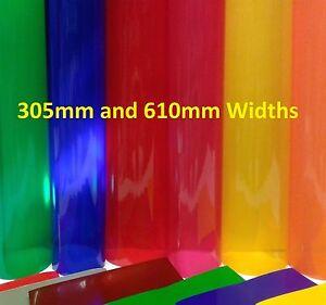 TRANSPARENT COLOURED VINYL A4, 1m, 5m LONG SELF ADHESIVE STICKY BACK PLASTIC
