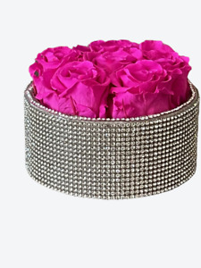 Preserved hot pink roses in a crystals small round shaped box, forever roses,
