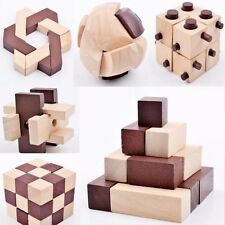 3D IQ Puzzle 10 Holz Puzzlespiel Knobelspiele Set Rätselspiel Geschicklichkeit