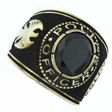 POLICE OFFICER BLACK STONE GOLD SS RING SIZE 7 8 9 10 11 12 13 14