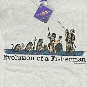 Fishing T-shirt Large Evolution Humor Fisherman Cotton Gildan Short Sleeve NWT