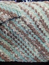 New! Handmade Crochet Blanket Throw Afghan - teal, tan, offwhite