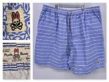 Psycho Bunny Mens Blue Logo Swim Shorts Trunks Drawstring Elastic Waist 2XLT