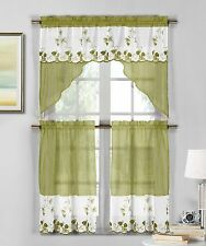 3 Pc Sage & White Sheer Window Curtain Set: Strawberry Embroidery, Swag & Tier