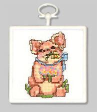 Cross Stitch Mini Kit ~ M.C.G. Little Pig w/Frame #15346