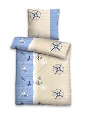 Seersucker Bettwäsche Baumwolle 4tlg 135x200 maritim blau beige Kompass