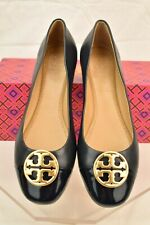 NIB TORY BURCH CHELSEA NAVY BLUE LEATHER GOLD REVA PATENT TOE BALLET FLATS 9.5