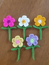 5×Crochet Flowers and Leaves Crafts Cards Scrapbooking Applique Decoration
