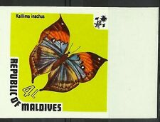 MALDIVES PAPILLONS KALLIMA INACHUS BUTTERFLIES IMPERF NON DENTELE ESSAY ** 1973