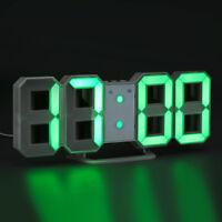 USB Large 3D Modern Digital LED Wall Clock 24/12 Hour Display Timer Alarm