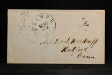 Massachusetts: Palmer 1850s Hall Grains on Back Stampless Cover, PAID 3 in Arc