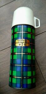 Vintage Thermos 0.45 litre Vacuum Flask Blue Green Tartan Check Camping