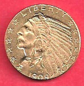 USA 5 Gold Dollar Indianer 1909, sehr schön