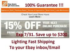 (x1) Home Depot 15% Off Coupon Online Purchase Only Exp 7/31 Fast Ship in minute