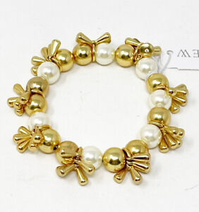 NWT J. Crew Gold Tone Bead & Faux Glass Pearl Dangle Stretch Boho Bracelet