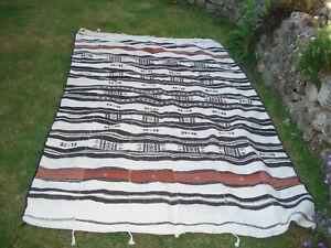 "African Mali Goat Hair blanket,throw,rug cream/black/copper 4'7""x8' vintage VGC"