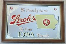 Stroh's Beer Mirror, We Proudly Serve To Our Iowa Friends