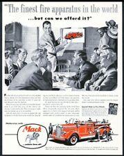 1950 Mack fire engine truck illustrated vintage print ad