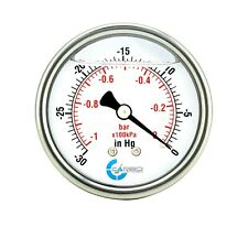 "2.5"" LIQUID FILLED VACUUM GAUGE -30 Hg/0 -1 BAR , STAINLESS STEEL CASE BACK  MNT"