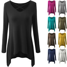 Womens Ladies Casual Long Sleeve Tops Shirt V Neck Loose T-shirt Blouse Tee Top