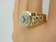 Mens 14k Yellow White Gold and 0.36 ct Diamond Ring Rolex Designer Style size 10