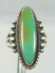 VINTAGE BELL TRADING POST NAVAJO STERLING & TURQUOISE RING NR SIZE 6.25
