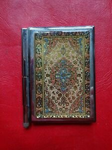 SMALL SILVER METAL NOTE PAD WITH PEN--FREE POSTAGE