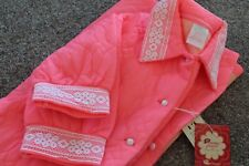 Vintage Quilted ROBE HOT Pink Dressing Gown Collins & Aikman New