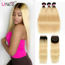 UNice Ombre Blonde 3 Bundles with Closure Indian Straight Human Hair Weft 1B/613