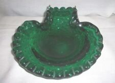MURANO EMERALD GREEN BUBBLE GLASS CANDY DISH SCALLOPED RUFFLED EDGE VINTAGE