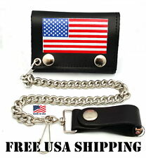 USA AMERICAN FLAG LEATHER BIKER CHAIN WALLET * MADE IN USA * FREE USA SHIP