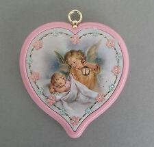 Schutzengelbild mit Baby und Laterne Herzform rosa Geburt Taufe  AR 53-1