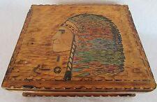 "Folk Art Adirondak Camp Stlye Box Hand Carved "" Indian Chief"" Keepsake/Humidor"
