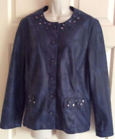 ALFRED DUNNER Embellished Beaded Button-Down Navy Blue Jacket Top ~ Size 12 / L