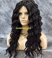Long Curl Layered Off Black Human Hair Blend Full Wig Heat Ok Hair Piece #1B