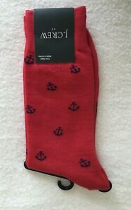 J.Crew Men's Dress Socks~RED with Navy Anchors!~Cotton Mix~ One Size~New