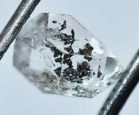 1.50 Ct Rare Herkimer Diamond Water Clear Quartz Crystal Anthraxolite Rough