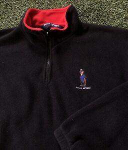 Vintage Polo Sport 90s Fleece Pullover Polo Bear Ralph Lauren Men's L USA