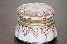 Antique porcelain moriage powder box, hinged lid, hand painted.