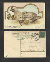 1908 EASTER GREETINGS { MOTHER HEN + FOUR CHICKS } POSTCARD