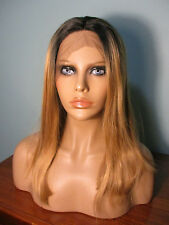 "18"" sleek golden BLONDE with BLACK ROOTS hand tied lace front wig - SARAH"