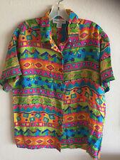Oscar de la Renta Silk Top Blouse Shirt Colorful Print -See Matching Shorts