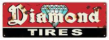 Diamond Tires Reproduction Garage Shop Vintage Large Metal Sign 8x24 RVG852L