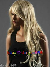 New Long Layered Womens Wig Like Real Natural Hair Wave Curly Blonde wig