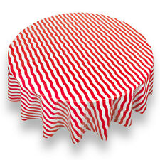 "Bold Stripe Red Premum Quality Vinyl Flannel Back Tablecloth 70"" Round"