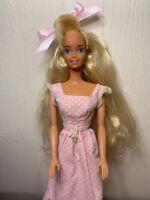 1966 1976 Barbie Doll Blonde Bangs Pink Dress Mattel Vintage China
